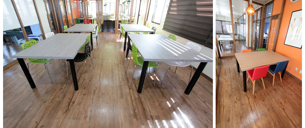 PVCフローリング(デコクリック)の施工写真です。施設の床材として採用してくださいました。