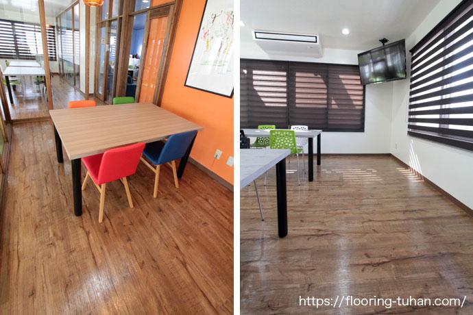 PVCフローリング(デコクリック)・クラシックヒッコリーカラーを床材として使用していただいた施設(沖縄県)