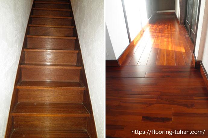 階段、廊下をチーク材で張替え