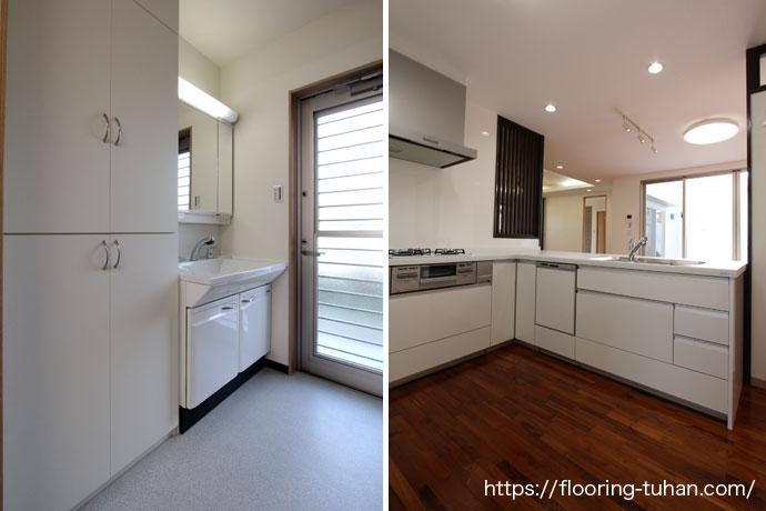 キッチンの床をチーク材で仕上げた2世帯住宅