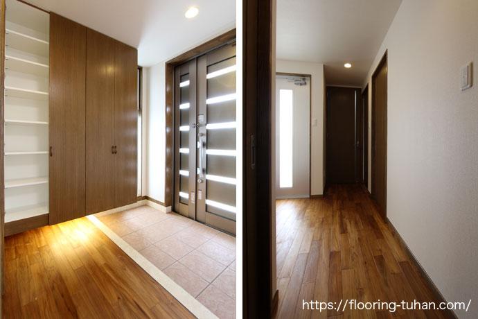 玄関もオスモカラー仕上げで統一(床材 タイル/床材 チーク/無垢フローリング/チークフローリング)