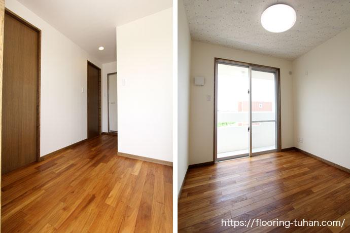 踏み心地のよい木目の綺麗な廊下とフロア(自然塗装/オスモカラ―/無塗装フローリング)