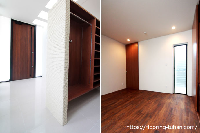 チークフローリングを使用した玄関と各部屋teak_4_0808.jpg