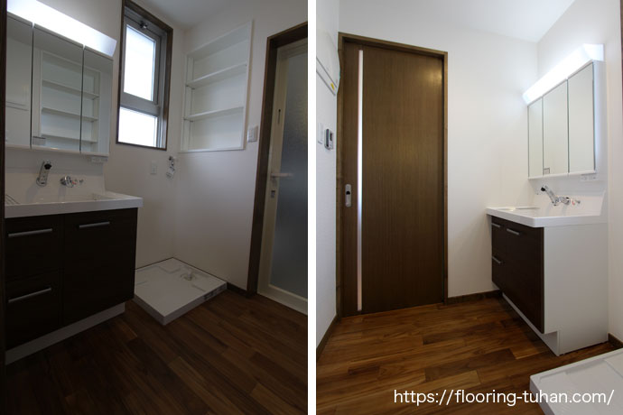 洗面室にも自然塗装フローリングを使用(自然塗装/オスモカラー/チーク材/無塗装フローリング)