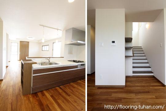 自然塗装のフローリングで仕上げたキッチンと階段(自然塗装/オスモカラー/チーク材/無塗装フローリング)