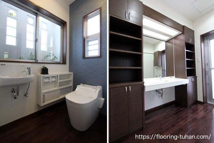 色を統一したトイレ/洗面所