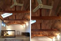 無垢フローリングを贅沢に天井にご使用いただきました。