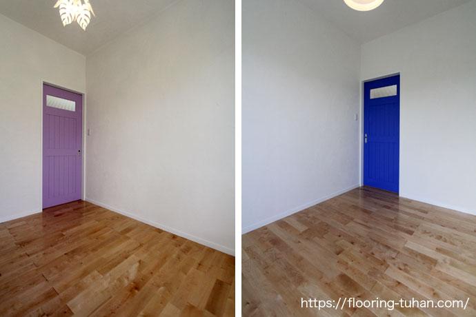 1部屋にワンポイントで鮮やかな建具を使用しています。
