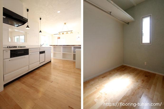 光が差し込む明るい家|無垢フローリングを使用した戸建て住宅