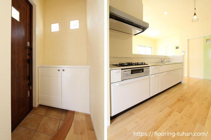 カバ桜フローリングを使用した明るい玄関・キッチン|無垢フローリング施工事例