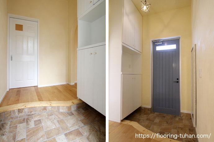 無垢フローリング施工事例|戸建て住宅の明るい玄関
