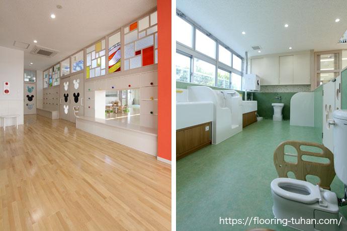 白系統のフローリングを使用しているので、清潔感のある明るい保育園に仕上りました。