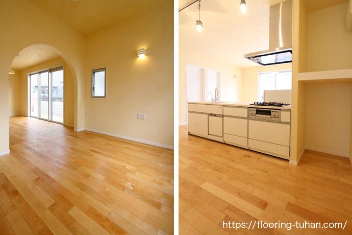 白基調のカバ桜材を床材として使用した戸建て住宅