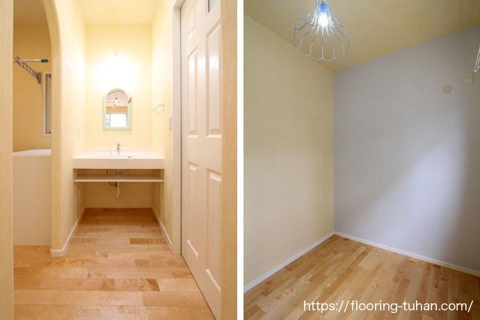 無垢フローリングの施工事例|カバ桜材を使用したお部屋・洗面所