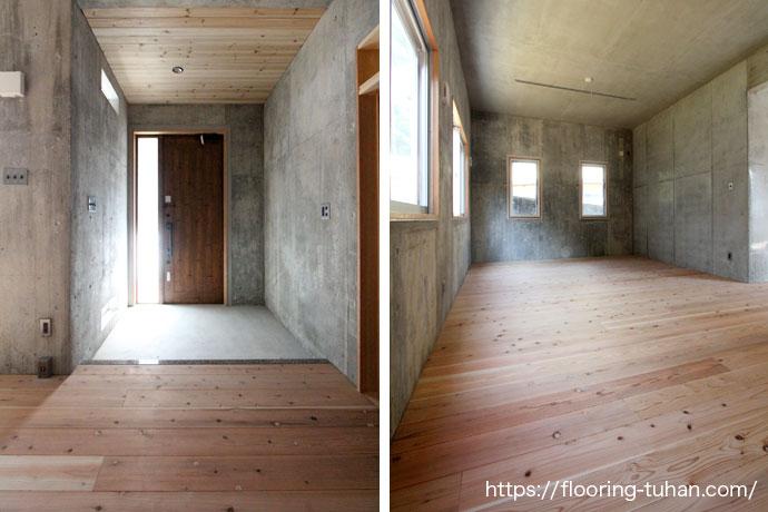 コンクリート打ちっぱなしと無垢材との組み合わせがおしゃれな戸建て住宅
