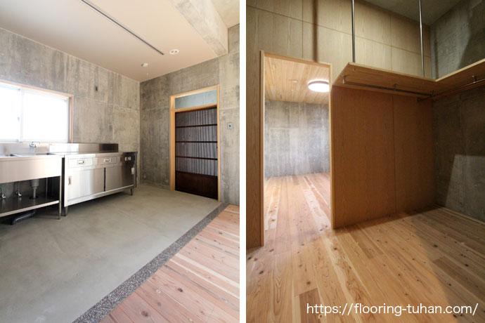 オシャレなキッチン|杉無垢フローリング幅広タイプの施工事例