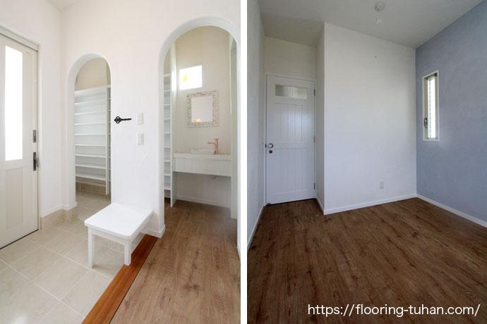 ボンド不要・ペット対応可能なPVCフローリング(デコクリック)をご採用いただいた二世帯住宅をご紹介します。