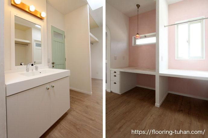 水に強いPVCフローリング(デコクリック)をご採用いただいた洗面所のお写真をご紹介します。
