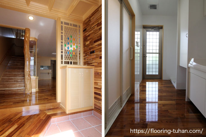 チークフローリングをご採用いただいた戸建て住宅。壁や天井にも木材を使用しています。