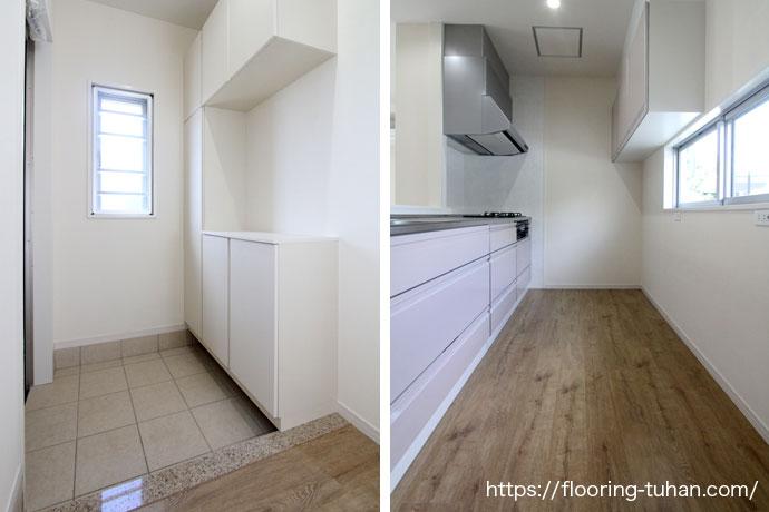 傷や汚れに強いデコクリックフローリングを使用した物件|玄関・キッチン