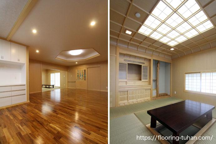 チーク無垢フローリングを使用したリビングダイニングと大工手作り和室天井