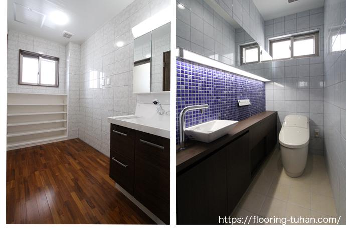 チーク無垢フローリングを使用した洗面室・トイレにはモザイクタイルでオシャレに仕上ってます。